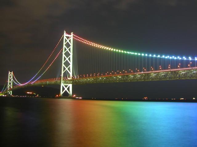 Мост Акаси в Японии (Akashi bridge) ночной вид