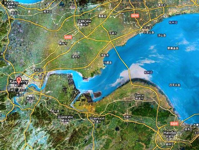 Карта расположения самого длинного моста в мире Ханчжоу
